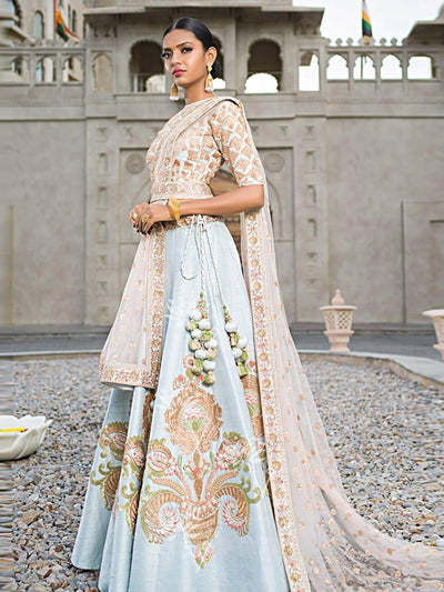 Aqua Blue Raw Silk Lehenga - 2017