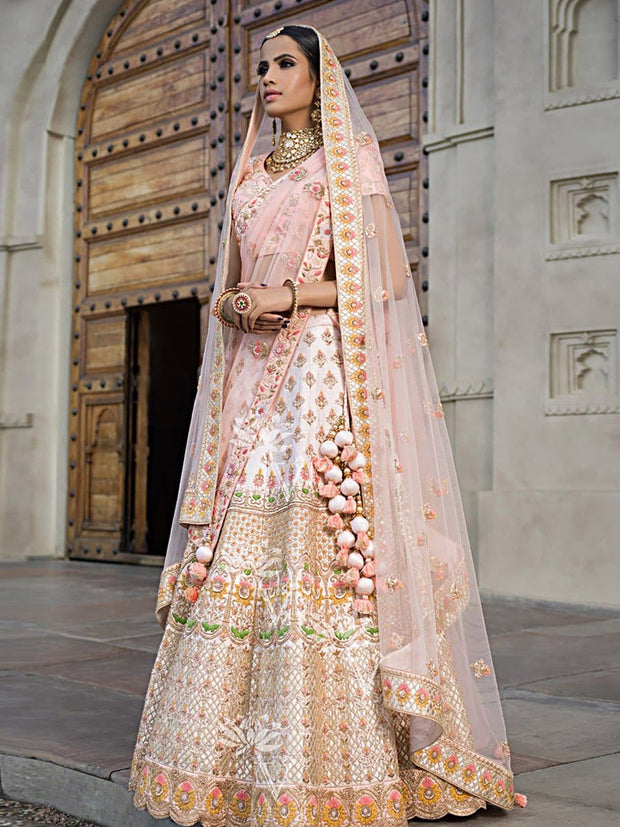 Peach Raw Silk Lehenga Choli '17