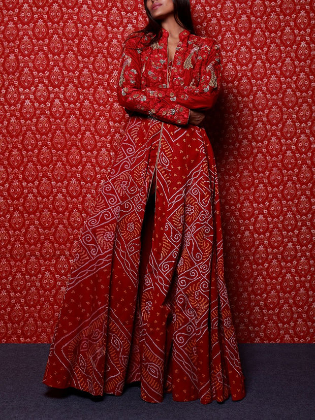 Red Raw Silk Bandhani Anarkali Gown