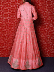 Peach Raw Silk Gota Patti Anarkali Gown