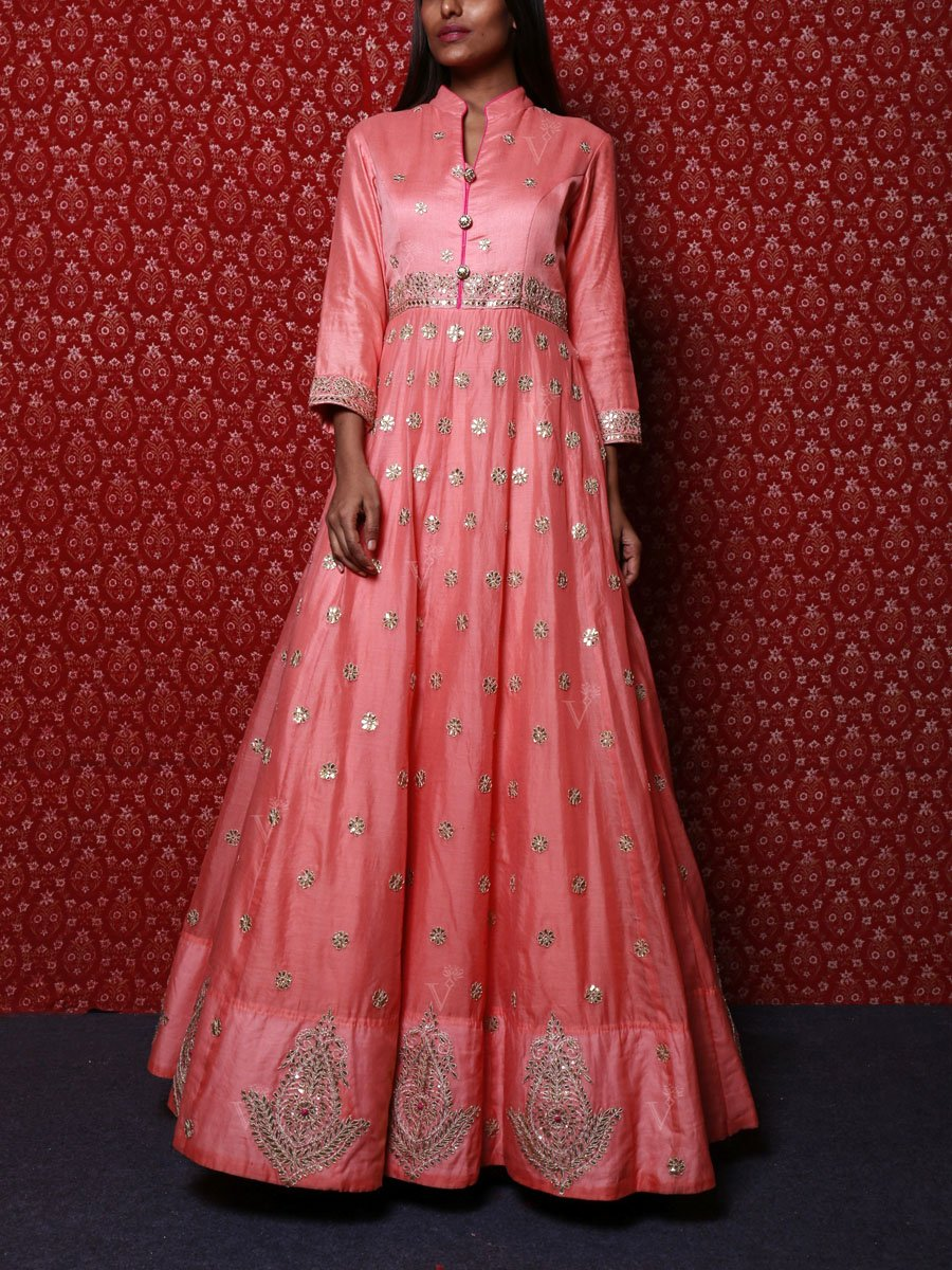 Anarkali suits Online:Peach Colored Anarkali Suit with Gota Patti Pattern