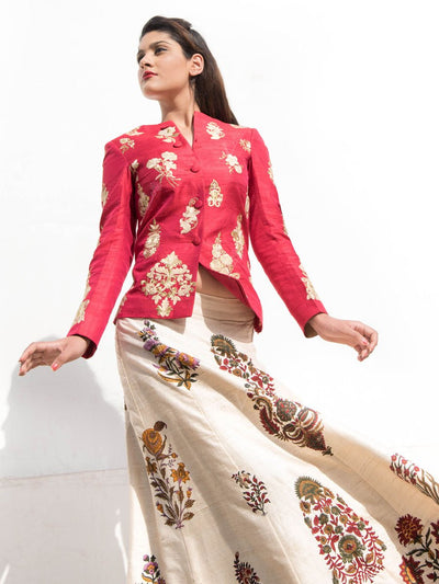 Off White Raw Silk Lehenga With Red Embroidered Jacket