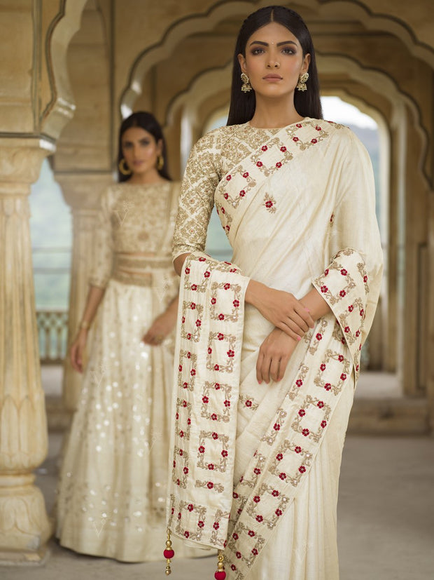 Tussar Silk Off White Saree - 2018