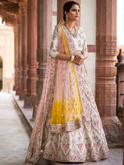 Off White Raw Silk Bridal Lehenga Set - 2018