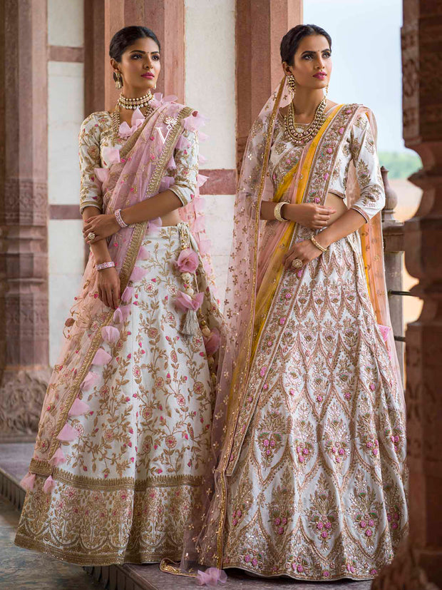 Off White Raw Silk Bridal Lehenga - 2018