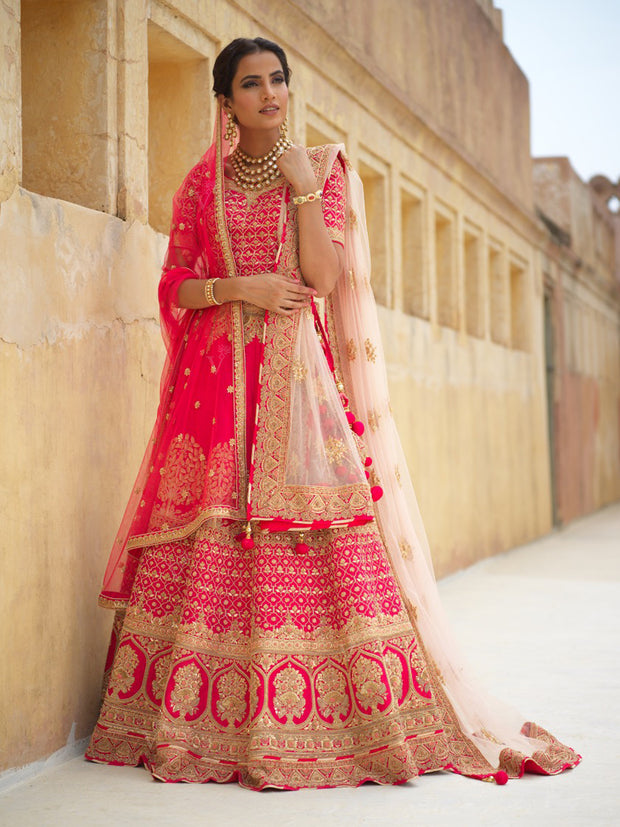 Red Bridal Raw Silk Lehenga - 2018