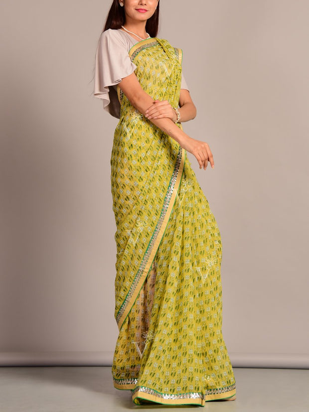 Green Pure Georgette Saree