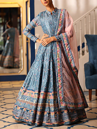 Light Blue Chanderi Silk Gown