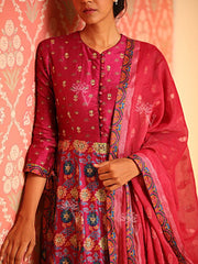 Magenta Chanderi Silk Gown