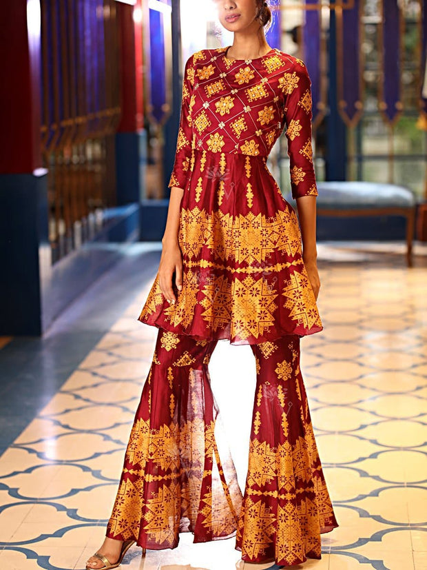 Maroon Sharara Set