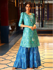 Indo western, Fusion wear, Sharara, Jacket, Cape, Palazzo, Pastel, Printed, Trendy, Light weight, Designer wear