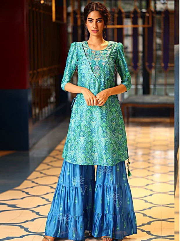 Light Blue Sharara Set