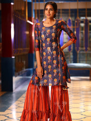 Dark Blue  Sharara Set