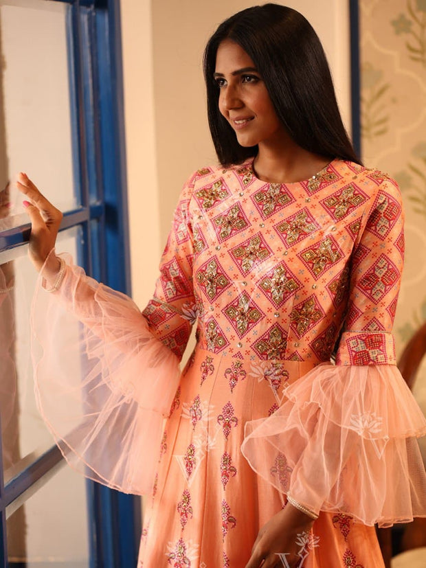 Peach Chanderi Silk Gown
