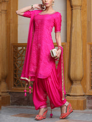 Pink Leheriya Suit Set