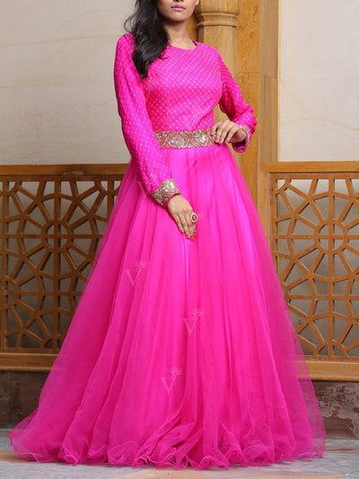 Pink Leheriya Anarkali Gown