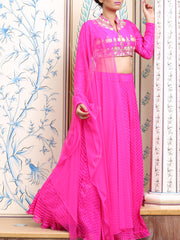 Pink Leheriya Crop Set