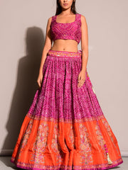 Purple Bandhani Lehenga Set