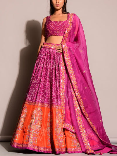 B2, Bandhani, Bandhej, Choli, DD45, Designer wear, Lehenga, Lehenga set, MTO, Navratri lehenga, Party wear, Printed, Sequence work, Zari work, bestseller