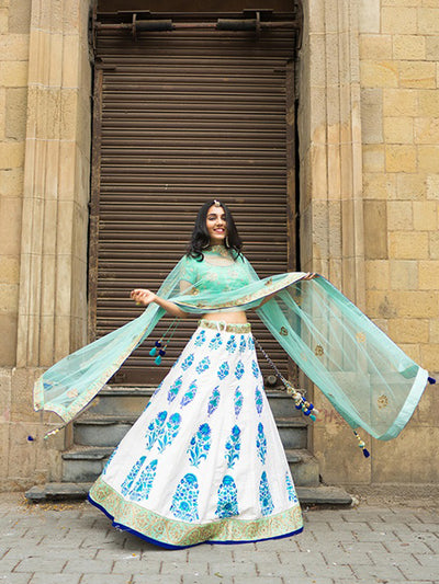 Off White And Indigo Block Printed Lehenga Set