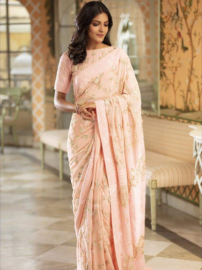 Powder Pink Chikankari Saree - 2019