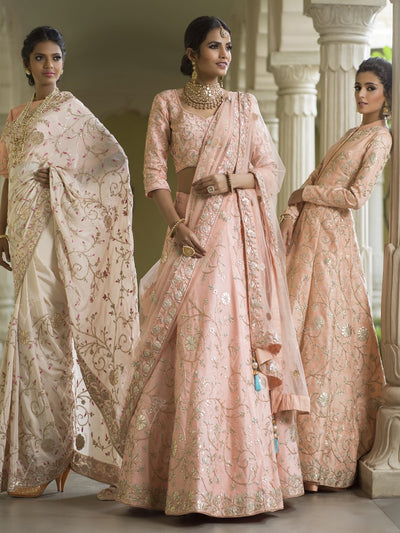 Handcrafted Peach Raw Silk Indo Western