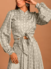 Olive Green Mirrorwork Bandhani Skirt Set