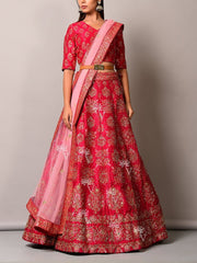 Pink Pearl Brush Lehenga Set