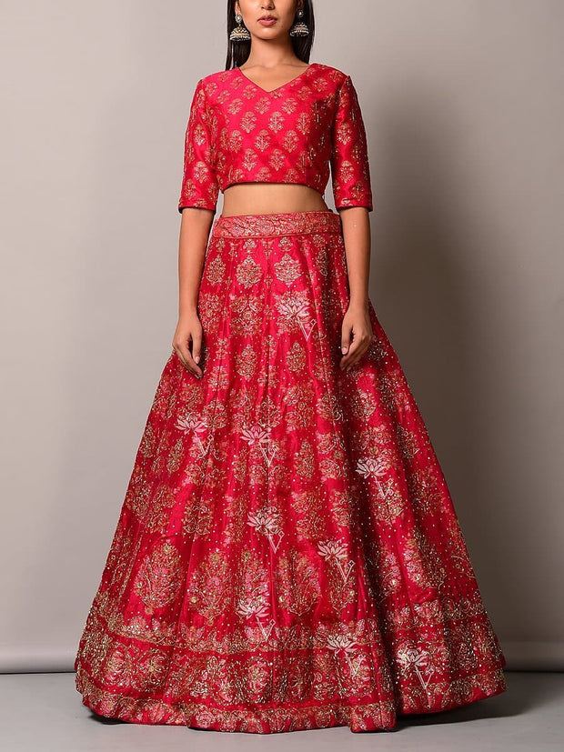 Lehenga, Lehenga set, Lehengas, Printed, Zari, Sequence, Bright, Party wear, Choli