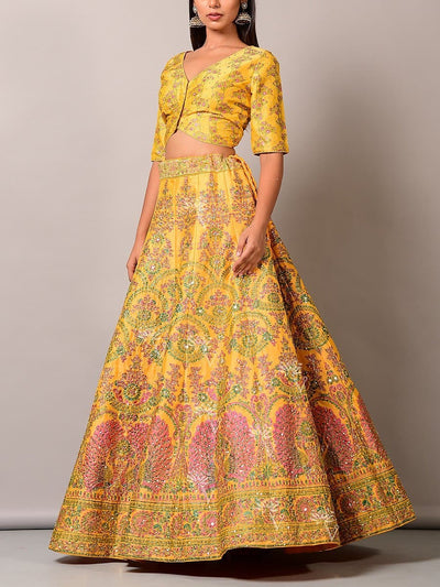 Yellow Pearl Brush Lehenga Set