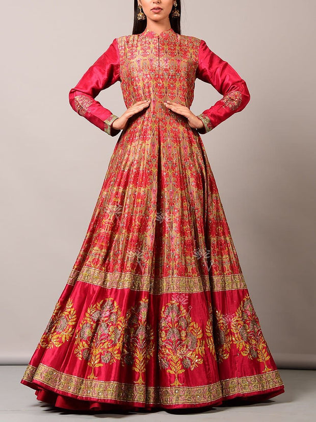 Anarkali, Anarkalis, Gown, Gowns, Floor length, Printed, Silk, Cotton, Party wear