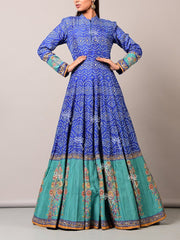 Blue Bandhani Silk Anarkali Gown