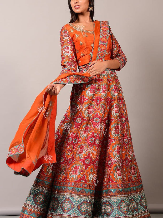 Orange Patola Lehenga Set