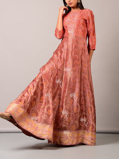 Peach Vasansi Silk Anarkali Tunic