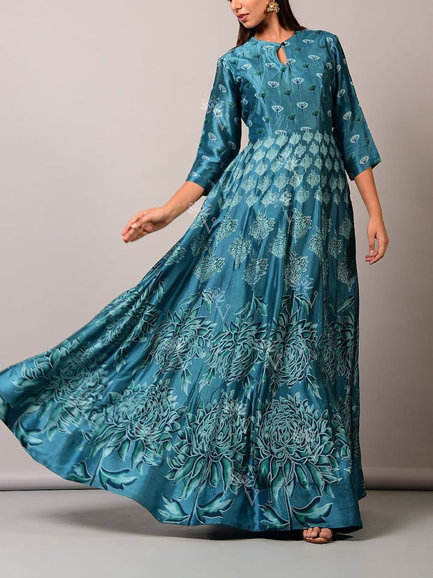 Anarkali, Anarkalis, Cotton, Floor length, Gown, Gowns, Party wear, Printed, Silk,SALE
