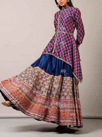 Blue Lehenga Set With Asymmetric Top