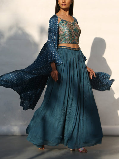 Peacock Blue Crop Set With Bandhani Cape