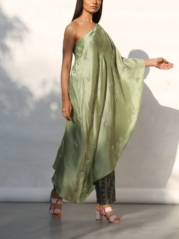 Mint Green One Shoulder Kaftan With Printed Pants