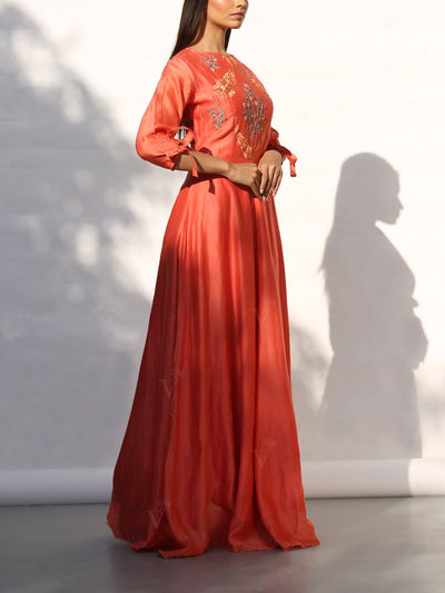 Orange Silk Embroidered Anarkali Gown