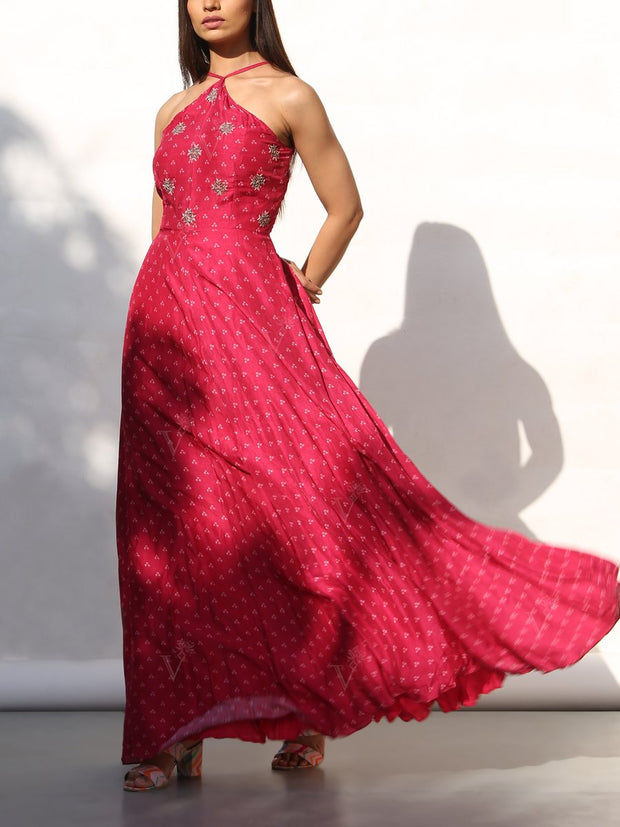 Pink Bandhani Embroidered Maxi Dress