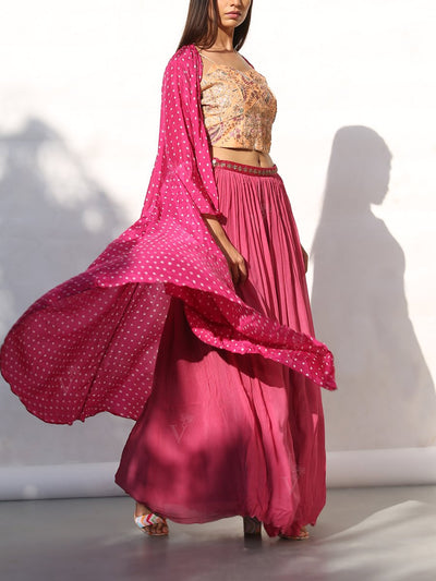 Pink Crop Set With Bandhani Cape
