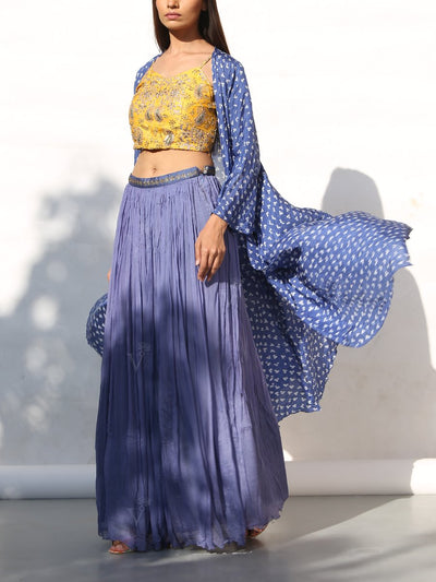 Fern Blue Crop Set With Bandhani Cape