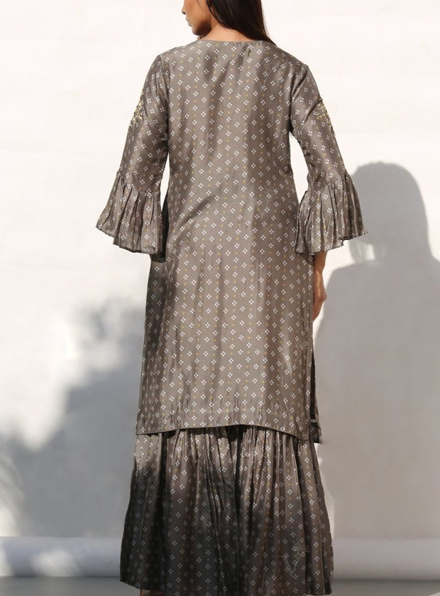Grey Embellished Bandhani Sharara Set