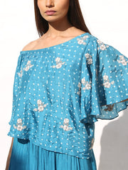 Steel Blue Bandhani Off Shoulder Top With Palazzo