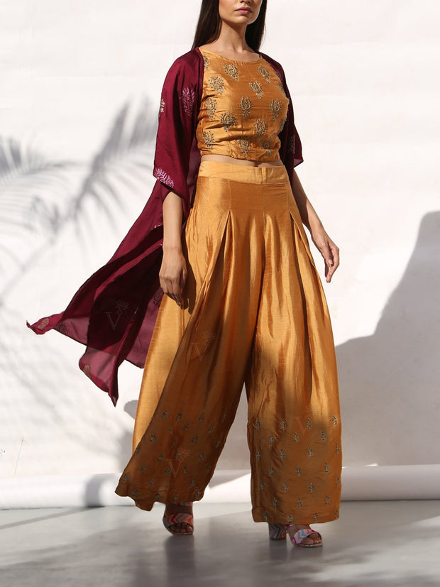 Mustard Palazzo Set With Contrast Cape