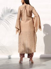 Champagne High Low Bandhani Kurta With Dhoti Pant