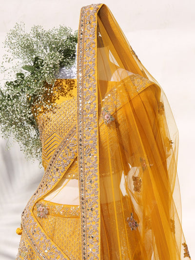 Yellow Raw Silk Bridal Lehenga Set