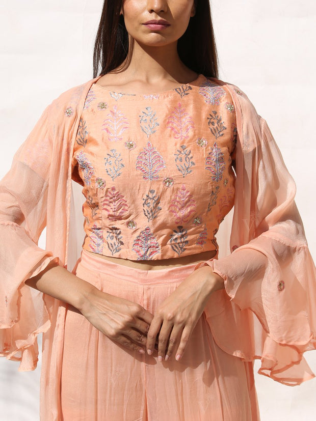 Blush Peach Palazzo Set With Cape