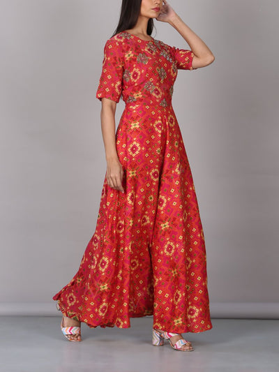 Coral Ikat Printed Anarkali Gown