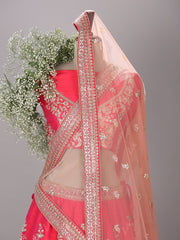 Red Raw Silk Bridal Lehenga Set